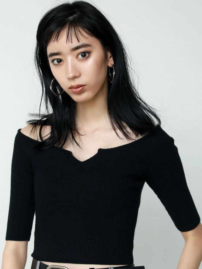 2WAY RIB KNIT TOP